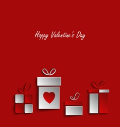 Valentines card with gifts on red background vector image vector image