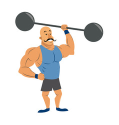 circus strong man mustache dumbbell vector image vector image
