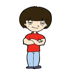 comic cartoon smug looking man vector image vector image