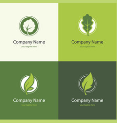 four logo with leaves in a shape of circle vector image