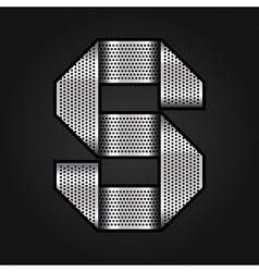 Letter metal chrome ribbon - S vector image