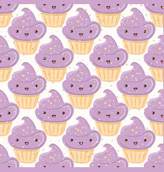 seamless pattern with cupcakes isolated on white vector image vector image