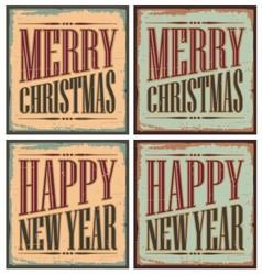 Vintage style Christmas tin signs - Christmas card vector image