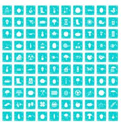 100 garden icons set grunge blue vector