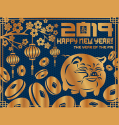 2019 new year symbol pig vector image
