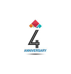 4 anniversary logotype with colorful crown vector
