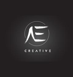 Ae brush letter logo design artistic handwritten vector