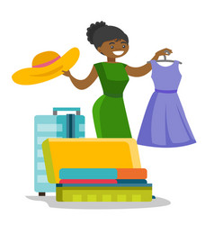African-american woman packing clothes in suitcase vector