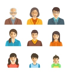 Asian family happy faces flat avatars set vector
