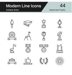 award and trophy icons modern line design set 44 vector image