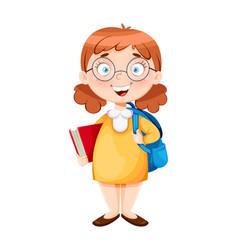 Back to school cute schoolgirl vector