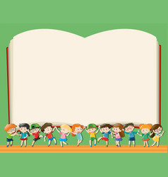 Background template with kids holding big book vector