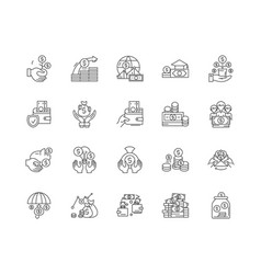 banker line icons signs set outline vector image