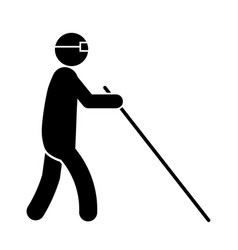 Blind man stick figure walking with a white cane vector