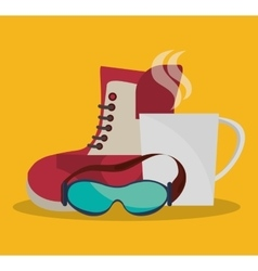 Boots glasses and cup coffee winter design vector