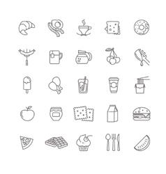 Breakfast icons stock set vector
