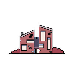 Brick house built in contemporary architectural vector