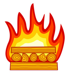 burning wood icon vector image