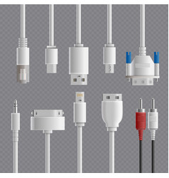 Cable connectors transparent set vector