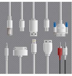 cable connectors transparent set vector image