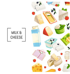 cartoon dairy and cheese products vector image