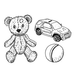 Children toy for children teddy bear cute ball vector