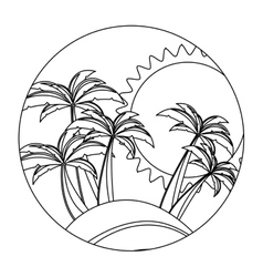 Circular shape with silhouette background beach vector