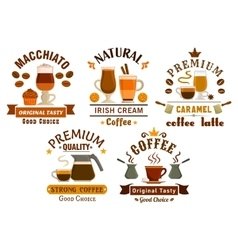 Coffee drinks with desserts badges for cafe design vector image