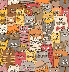 Colorful Seamless Pattern With Funny Cats vector