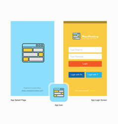 company website splash screen and login page vector image