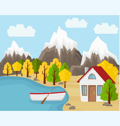 Country house with the boat near the pond vector