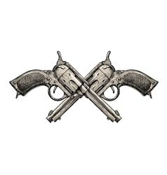Crossed Revolvers Vintage guns hand-drawn Gun vector image