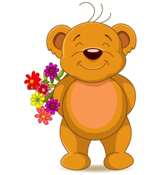 Cute brown bear with flowers vector