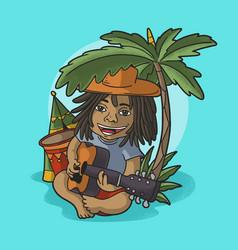 cute kid play guitar at tropical beach vector image