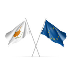 Cyprus and european union waving flags vector