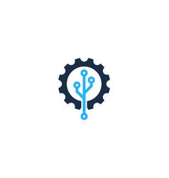 digital gear logo icon design vector image