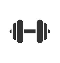 Dumbbell black icon on white background fitness vector