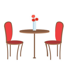 Empty restaurant table with three flowers in vase vector