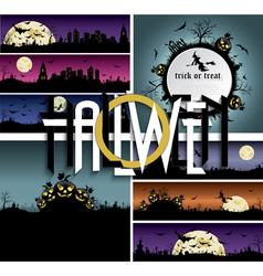 Et of Halloween backgrounds banners with art text vector