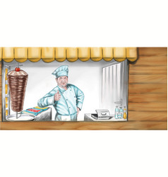 fast-food-pavilion-seller-hand-painted vector image