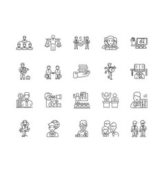 Financial and investment advice line icons signs vector