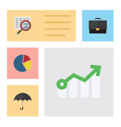 Flat icon finance set of growth parasol graph vector