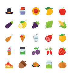 Food and gifts icons pack vector