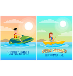 Forever summer posters set vector
