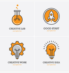 Four icons with human head rocket and light bulb vector