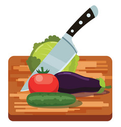 Fresh vegetables on woden cutting board with knife vector