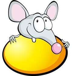 Funny mouse with yellow egg isolated on white vector
