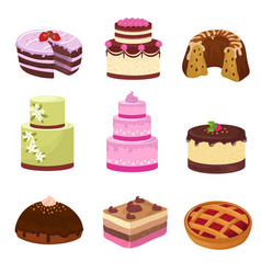 Happy birthday party cakes with decorations vector