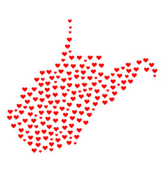 Heart mosaic map of west virginia state vector