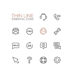 Help Center - Thin Single Line Icons Set vector image